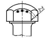 Три точки для измерения твердости головки башмачного болта