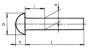 Заклепка с полукруглой головкой под молоток ГОСТ 10299
