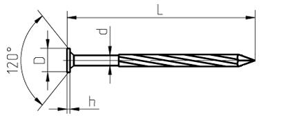 Гвоздь винтовой чертеж (ГОСТ) 7811-7070 неполный винт