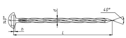 Гвоздь винтовой чертеж (ГОСТ) 7811-7335 винт до шляпки