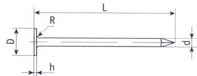 Гвоздь с большой головой чертеж (ГОСТ) 7811-7102
