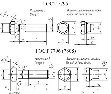 Болт с уменьшенной головой ГОСТ 7795, ГОСТ 7796, ГОСТ 7808 класс прочности 5.8